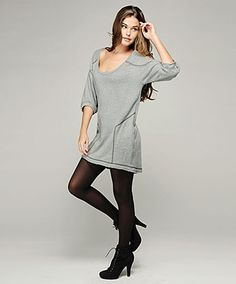 loopy french terry 3/4 sleeve cocoon dress