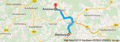 From: Marburg, Germany To: Amönau, Germany. Location of Rapunzel house