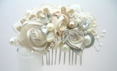 Vintage-Inspired Ivory Bridal Hair Clip- Lace & Floral Wedding Hair Piece- Wedding Hair Accessories- Statement Hairclip- Brass Boheme. $59.00, via Etsy.