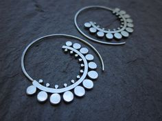 Sunflower Spiral Hoops by SashaBellJewelry on Etsy Wire Jewelry, Jewelry Art, Jewelery, Silver Jewelry, Jewelry Accessories, Fashion Accessories, Jewelry Design, Handmade Silver, Handmade Jewelry