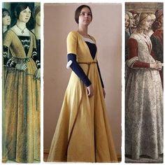 century yellow hand-dyed cioppa and blue gamurra. Italian Renaissance Dress, Costume Renaissance, Renaissance Mode, Medieval Costume, Renaissance Clothing, Renaissance Fashion, Medieval Dress, Historical Costume, Historical Clothing