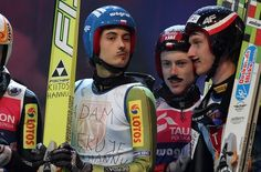 Polish skijumpers goofing off with Adam Małysz moustaches Goof Off, Ski Jumping, Moustaches, Laugh Out Loud, Skiing, Polish, Baseball Cards, Sports, Ski