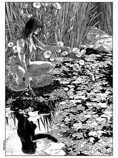 "crossconnectmag: "" Pleasure In Ink by Apollonia Saintclair Apollonia Saintclair is an artist whose artwork posses a significant balance between raw sensuality and artist aesthetic. Her drawings. Dark Fantasy Art, Fantasy Kunst, Dark Art, Arte Horror, Horror Art, Artist Aesthetic, Art Original, Wow Art, Erotic Art"