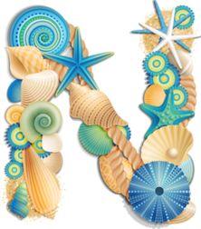 ۞ Seashell Alphabet, Blue by Яндекс. ۞ N