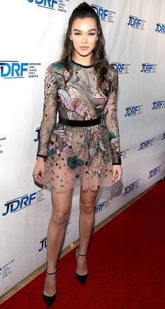 HAILEE STEINFELD wears a sheer Elie Saab mini dress with multicolored floral embroidery and ankle strap pointed toe shoes to JDRF's Imagine Gala in Beverly Hills.