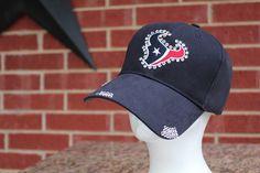 Houston Texans Distressed Baseball Style Hat.... EXTRA Bling/Rhinestones. $40.00, via Etsy.