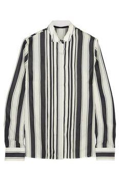 HAIDER ACKERMANN Pleated striped silk shirt. #haiderackermann #cloth #tops