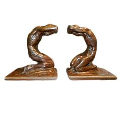 """Isidore Konti  """"Reverence Before Knowledge"""", 1911    Stunning bookend figures by the artist Isidore Konti. Bronzes are signed I. Konti (C) Gorham Founders 0472, #48.    Reference: The Hudson River Museum, The Sculpture of Isidore Konti, reference number 42."""