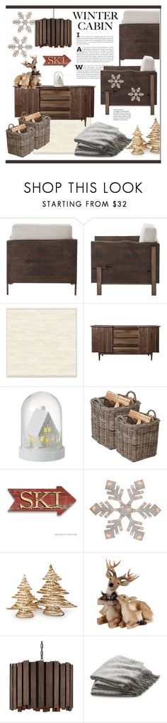 """Winter Cabin"" by shywonu ❤ liked on Polyvore featuring interior, interiors, interior design, home, home decor, interior decorating, West Elm, Parlane, Garden Trading and National Tree Company"
