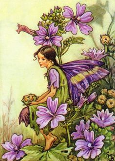 green and purple fairy art