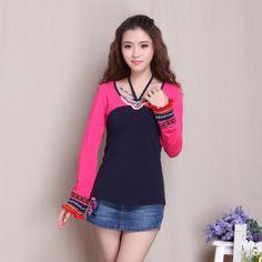 Charming Oriental Style Long Sleeve Shirt - Dark Blue - Chinese Shirts & Blouses - Women