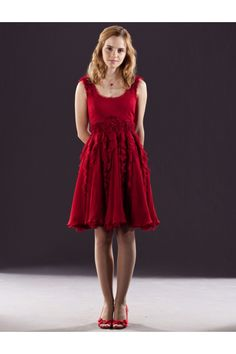 Harry Potter and the Deathly Hallows Hermione Granger Red Dress Costume-5