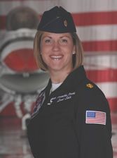 """Major Samantha Weeks--A second female pilot joined the Thunderbird team in June 2007. Major Samantha Weeks flies #6 - opposing solo pilot. Major Weeks is a 1997 graduate of the Air Force Academy. She served with the 12th Fighter Squadron as a flight commander and instructor pilot, flying the F-15C/D """"Eagle."""" She has flown missions for the 94th Fighter Squadron over Iraq. She flies the F-16 """"Fighting Falcon with the Thunderbirds."""
