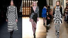 Tendance mode hiver 2015 2016 noir & blanc graphique, défilés Valentino, Saint Laurent et Emilio Pucci