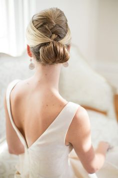 French braided chignon: http://www.stylemepretty.com/north-carolina-weddings/raleigh/2015/04/03/merrimon-wynne-house-bridal-inspiration/ | Photography: Katherine Miles Jones - http://www.katherinemilesjones.com/