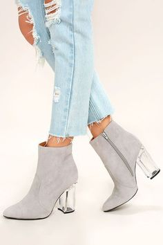Shine bright like a diamond in the Illuminate Light Grey Suede Lucite Ankle Booties! These sexy vegan suede booties have a pointed toe upper, and stylish lucite heel. zipper at the instep. Womens Fashion Online, Online Fashion Stores, Shoes Boots Ankle, High Boots, Vegan Shoes, Mid Calf Boots, Suede Booties, Black Suede, Beige