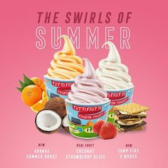 SUMMER FLAVOURS ARE AROUND THE CORNER 🌀 Swirl this year's summer faves starting next Friday, June 23rd! ⏱ Time's ticking, don't miss out 😉 #CreateYourCool #tuttifrutticanada