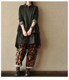 Dark Green Loose  cotton   shirt  Asymmetrical par clothingshow, $48.50