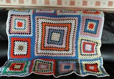 Handmade crochet granny square blanket only £15