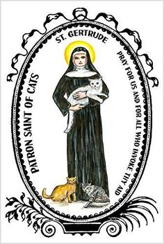 St. Gertrude of Nivelles Patron Saint of Cats 4x6 Prayer Card and Psalm Balm Gift Set.
