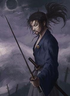 Miyamoto Musashi by Yang Hong : ImaginarySamurai Fantasy Character Design, Character Inspiration, Character Art, Samurai Weapons, Samurai Warrior, Dnd Characters, Fantasy Characters, Martial, Vagabond Manga