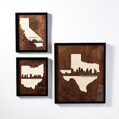 City and State Decor White Texture Paper, Whitewash Wood, Unique Wall Decor, Walnut Stain, Natural Wood, Houston, Neutral, Skyline, City