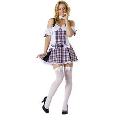 This Adult Sexy Teacher Costume is too hot for detention! You're just an innocent schoolgirl -- or are you? -- when you wear the pink plaid Teacher Costumes, Halloween Costumes, Girl Halloween, Halloween Ideas, Sexy School Girl Costume, Dress Up Boxes, Hooded Dress, Costume Shop, Plaid Skirts