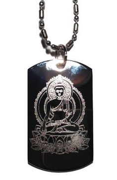 Buddha Sitting on Lotus Leaf Buddhism Religous Symbol Logo - Military Dog Tag Luggage Tag Key Chain Metal Chain Necklace *** Hurry! Check out this great product : Dogs ID tags and collar accessories