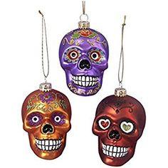 Glass Skull Ornament Set OF 3