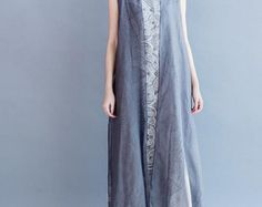Women Loose Fitting autumn dress cotton and linen large by MaLieb