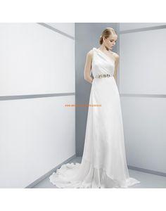 Speziale Einschulter Hochzeitskleider aus Chiffon mit Perlenschärpe ...