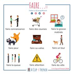 The French verb FAIRE is a very often used verb. Here are a few French expressions with the verb FAIRE. French Verbs, French Grammar, French Phrases, French Language Lessons, French Language Learning, French Lessons, German Language, Spanish Lessons, Japanese Language