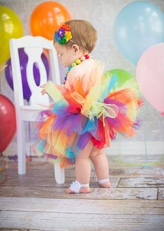 Our 1st Birthday Rainbow Tutu is great for any little one with a Rainbow theme birthday party! Also great for a circus themed party! Let your