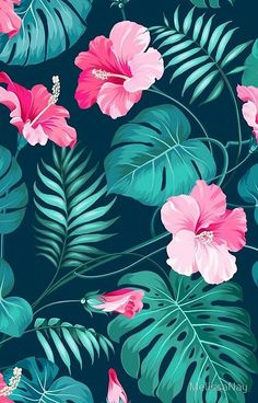 Tropical flower pattern wallpapers in 2019 ремонт Cute Wallpaper Backgrounds, Flower Backgrounds, Flower Wallpaper, Pattern Wallpaper, Iphone Wallpaper, Tropical Flowers, Tropical Leaves, Hibiscus Flowers, Wallpapers Rosa