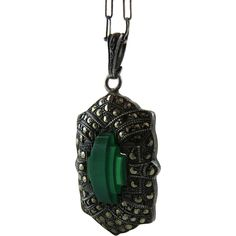 Art Deco Vintage Sterling Silver, Chrysoprase And Marcasite Pendant from marzillivintage on Ruby Lane