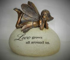 BRONZE FAIRY on a  GARDEN STONE statue  Love Grows All Around Us   Resin Made