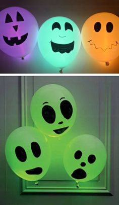 Halloween Glow Stick Balloons | Click Pic for 20 DIY Halloween Decorations for Kids to Make | Cheap and Easy Halloween Decorations on a Budget