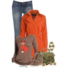 Foxy Lady - Polyvore. True Autumn outfit with orange jacket