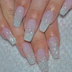 27+ Light Blue Acrylic Nails Coffin Long 21 - Decorinspira.com #AcrylicNailsStiletto Glitter French Nails, Glitter Nail Art, Silver Glitter Nails, Blue Nails With Glitter, Accent Nail Glitter, Glitter Wedding Nails, White Sparkle Nails, Red And Silver Nails, Silver Acrylic Nails