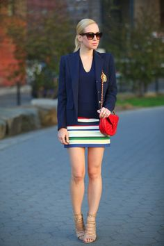 If you dont want to wear a heavy layer on top, lighten your look up with a blazer, like this one seen on Brooklyn Blonde.