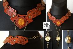 Leather necklace with a working clock by barlogg