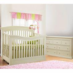 Sorelle 2 Piece Nursery Set   Verona 4 In 1 Convertible Crib And Double  Dresser In