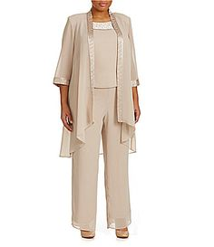 45db609408442 Le Bos Plus Textured 3Piece Pant Set  Dillards Mother Of The Bride Trouser  Suits