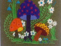 Retro Vintage Groovy Handmade Mushroom Yarn Art /