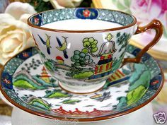 Crown Staffordshire Painted Tea Cup and Saucer Pagoda Teacup
