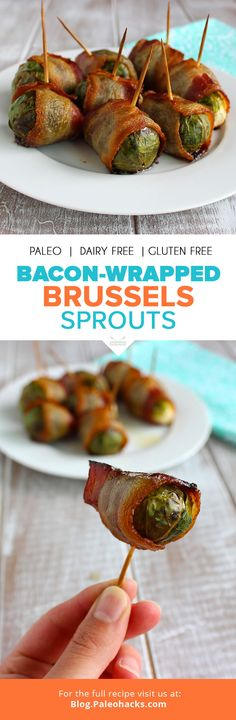 Bacon-Wrapped Brussels Sprouts #justeatrealfood #paleohacks More