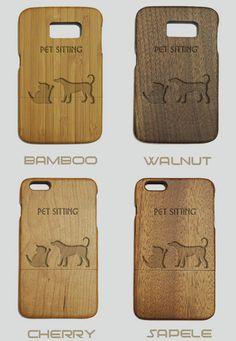 Pet Sitting Engraved Wood Phone Case