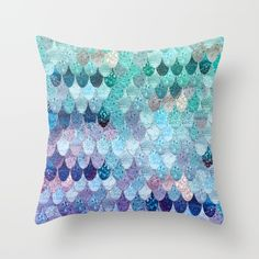 SUMMER MERMAID II Throw Pillow by Monika Strigel $20 Get this cute mint and purple glittery pillow in three sizes - indoor and outdoor! 16x16 18x18 20x20 - lovely for every mermaid themed room!