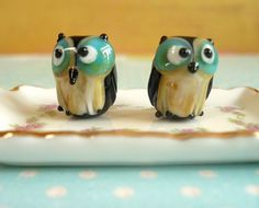 Owl Lampwork Glass Beads Turquoise  5 pieces by jewelry56 on Etsy. , via Etsy.