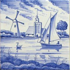 A range of traditional handmade delft designs featuring full landscapes from the Douglas Watson Studio. Christmas Card Sayings, Delft Tiles, Stained Glass Designs, Blue And White China, Handmade Tiles, Travel Posters, Landscape, Painting, Dutch Netherlands